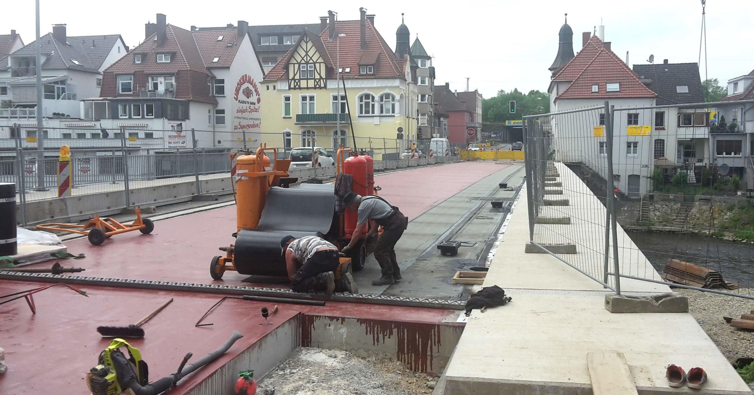 Einbau Bitumen-Schweißbahn