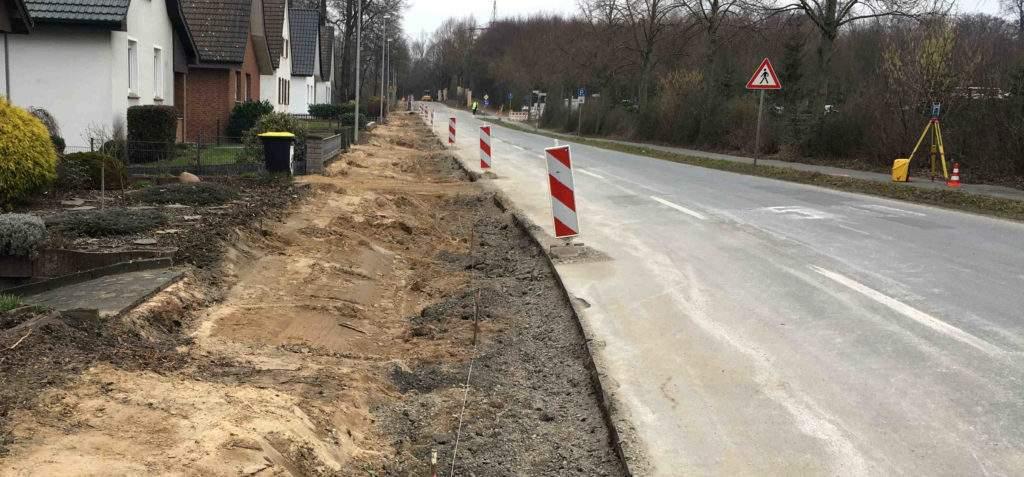 Maschstraße Hiddenhausen Bauarbeiten Gehweg